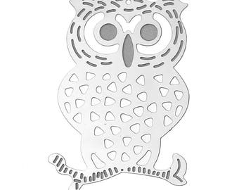 Set of 10 prints OWL OWL charm silver plated 40x27mm steel SC66928