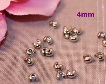 100 crimp beads covers 4mm silver