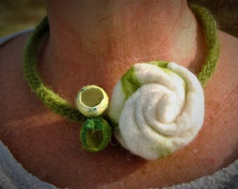 Necklace with felted White Rose
