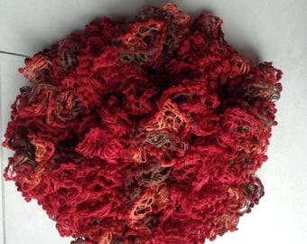 Large ruffle scarf red shades