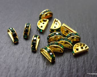 10 connectors gold swarovski 12 x 3 mm