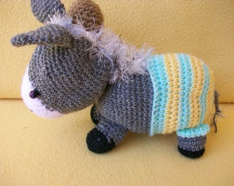 "Donkey toy ""cadichon"" is hand crocheted with his striped pants"