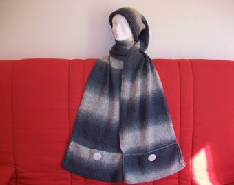 Scarf and hat with knitted wool grey ombre