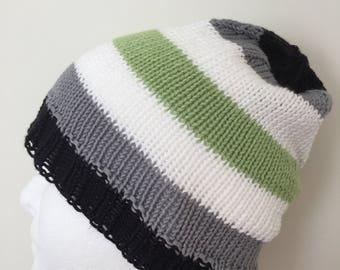 LGBTQ Agender Pride Slouchy Beanie Hat