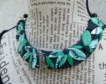Necklace polymer clay black pattern embossed exotic flowers leaves