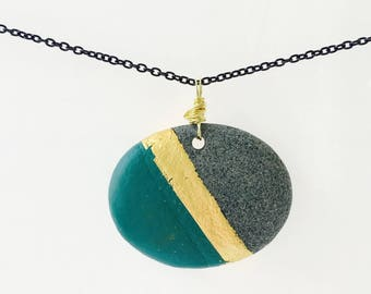 Beach Stone Pendant with 24K Gold Leaf//Natural Stone Jewelry//Teal & Gold Pendant