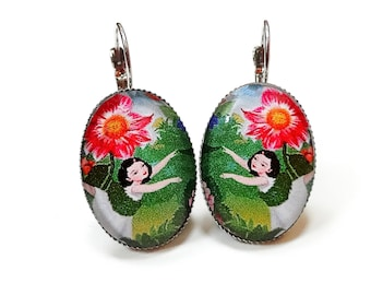 earrings girl and flowers glass dome cabochons