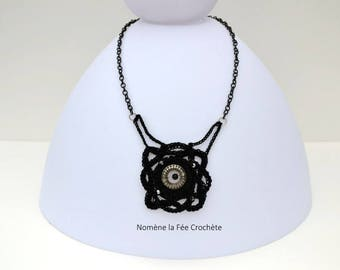 Necklace black pendant, Medallion rose, hand made crochet, beads and Center silver.