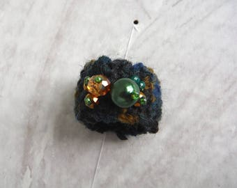 wool blend blue color ring and handmade glass beads/ring with beads