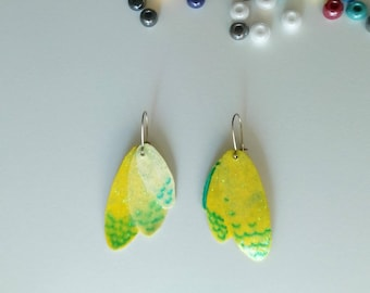 paper yellow glittery wings earrings/earrings