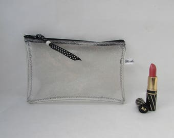 Zip pouch in a clear vinyl, waterproof PVC glittery silver, plane, waterproof pouch case drugs Beach, handmade
