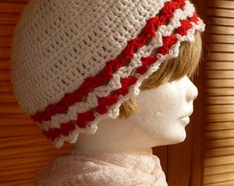 """Hat """"Bob"""" woman crochet red and beige"""