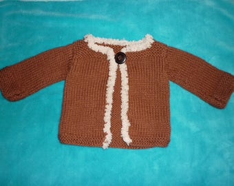 Jacket / vest for baby girl Brown