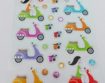 24 stickers scooter helmet multicolor green blue orange purple pink