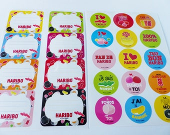 """23 stickers and tags """"school"""" Haribo tagada crocodile licorice bear jelly beans in gold"""