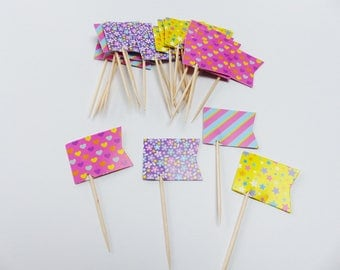 24 wood and paper flag food picks heart star flowers stripe spike studs