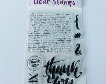 8 stamp message thank you very much thx transparent & writing clear silicone stamp