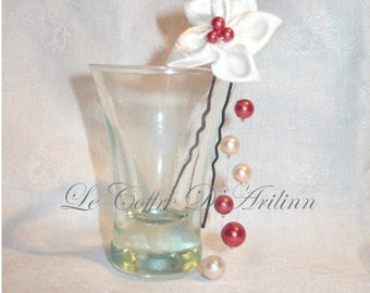 Hair flower with satin and pearls