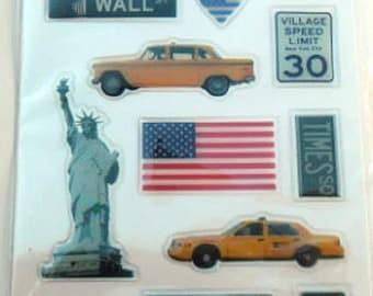 3d embossed laptop stickers New York Board 12.5 cm x 7.5 cm
