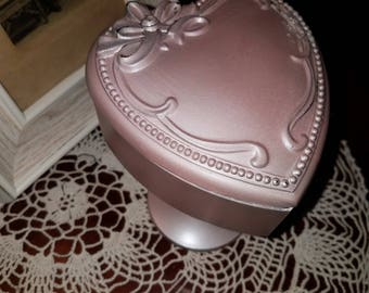 Silver Misty Pink JEWELRY BOX-Pedestal-JEWLERY Holder-Birthday-Wedding-Baby French Country Decor
