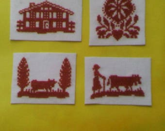Set of 4 magnets - hand embroidery