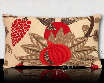 """Pillow DESIGNER Collection """"MAHARANI"""" - figs and stylized vines BOHEMIAN Red Ruby/watermelon/Brown/Taupe pattern on ivory background."""
