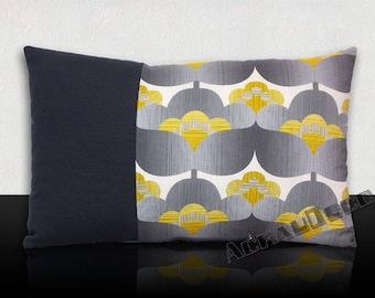 "Cushion ""flowers pop vintage""-grey Dove/black steel/white/yellow mustard/grey. Black headband"