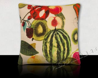 Pillow Design exotic fruits multicolored watermelon/kiwi/mango/Granada on white background