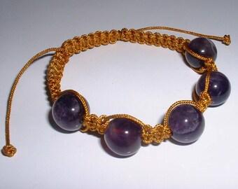Shamballa style bracelet gold and peace