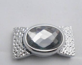Magnetic clasp with faceted grey hammered 3.4 x 1.8 cm. (9076802)