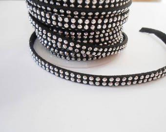 1 m rhinestone acrylic Silver 5 mm x 2 mm Black Suede cord