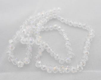 2 beads of white multicolor faceted Crystal 4 x 6 mm