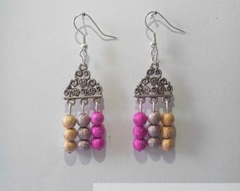 Pink Trio earrings, gold and Brown