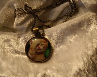 Cat cabochon necklace