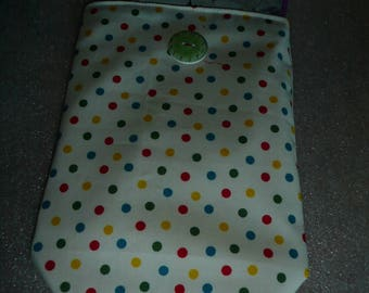 White gift bag with multicolor polka dots