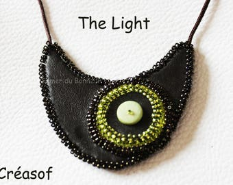 "Necklace size adjustable chocolate and lime ""The Light"""