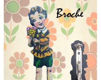 "Wooden brooch small Retro ""Victor"""