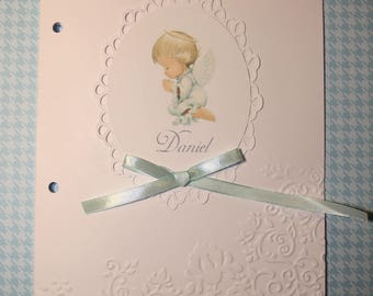 Cover booklet of baptism or communion personalized cardboard embossed by hand