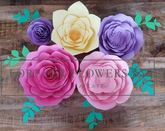 Rapunzel Set: Large Customizable Paper Flower Backdrop Display (5 -7 flowers) Perfect for a party, event or decor