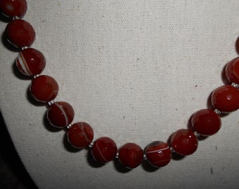 Faceted carnelian stone necklace