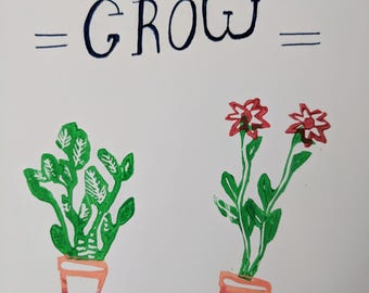 Lets grow linocut print