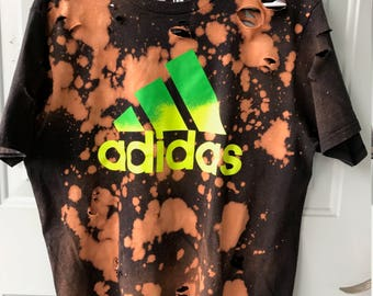 Bleached & Ripped Distressed Adidas T-Shirt