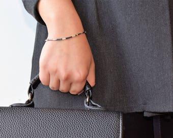 Sterling Silver 925 Bracelet,Women Silver Bracelet,Women Bracelet Silver,Hematite Delicate Bracelet,Women's Bracelet,Dainty Silver Bracelet