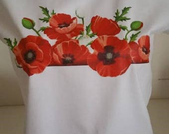 """woman tee-shirt """"BOUQUET of poppies '"""""""