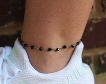 Midnight black anklet