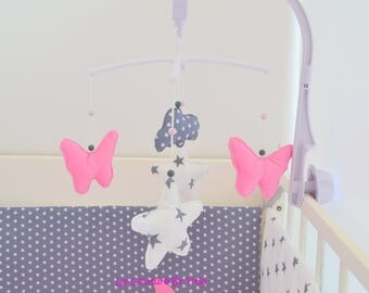Mobile musical baby handmade Moon and cloud grey and pink @lacouturebytitia Butterfly