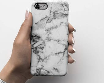 Pale Soft Gray Marble Stone Durable Hard Plastic Phone Cover For iPhone 6, iPhone 7, Samsung Galaxy S |ID44