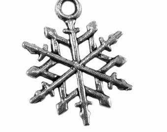 x 5 - snowflake - metal charm - silver color