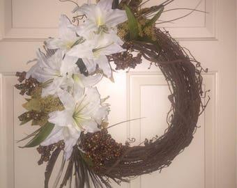 White Artificial Flower Grapevine Wreath, Summer Door Wreath, Grapevine Wreath, White Flower Wreath