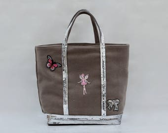 The bag in linen-cotton gray with pink sequins molded fairy